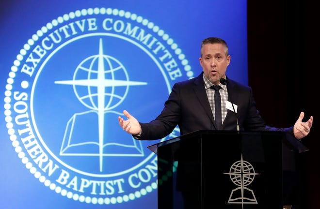 In this Feb. 18, 2019, photo, Southern Baptist Convention President J.D. Greear speaks to the denomination's executive committee in Nashville.
