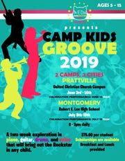 Camp Kids Groove is taking place in Prattville and Montgomery.