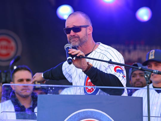 Nov 4, 2016; Chicago, IL, USA; Chicago Cubs catcher David Ross (3) talks during the World Series victory rally in Grant Park. Mandatory Credit: Dennis Wierzbicki-USA TODAY Sports
