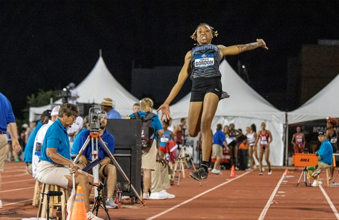 Former Blackman and current Memphis track and field standout Tanalya Gordon competes in the NCAA Outdoor Championships, where she earned second-team all-american honors in the long jump.