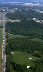 An aerial shot of traffic for the first annual Bonnaroo festival, June 20, 2002.