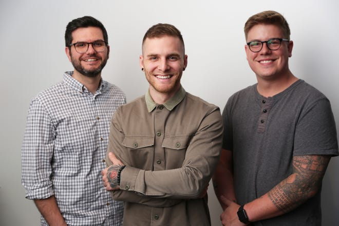 Soundstripe co-founders, from left, Travis Terrell, co-CEO, Trevor Hinesley, CTO, and Micah Sannan, co-CEO.