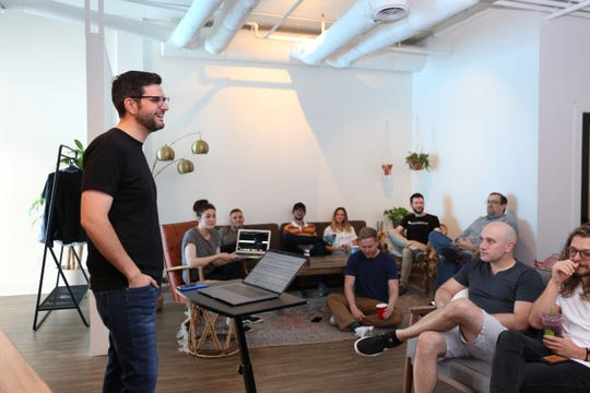Soundstripe co-founder and co-CEO Travis Terrell gives a presentation for the company all-hands meeting.