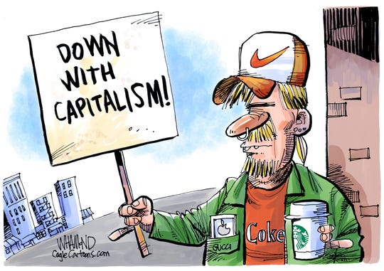 Anti-capitalists' swag.