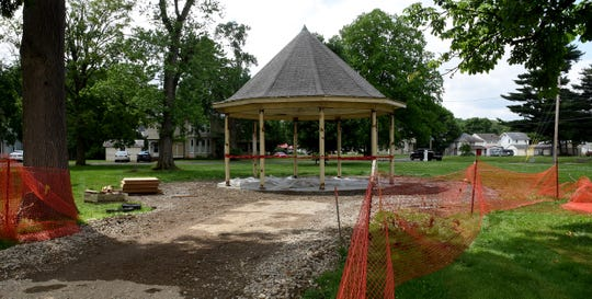 Reconstruction of the gazebo, previously located on the downtown Courthouse Square, has begun at the former Children's Home site on East Main Street.