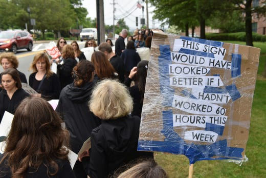 Franklin Lakes teachers and support staff went on strike after working with an expired contract for two years on Monday June 10, 2019 in Franklin Lakes, N.J.