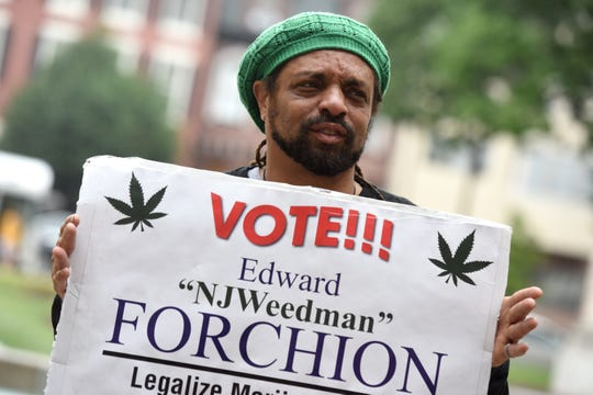 "Ed ""NJ Weedman"" Forchion of Trenton attends a rally and press conference for the legalization of marijuana held by NORML outside of the NJ Statehouse Annex in Trenton on Monday, June 10, 2019."