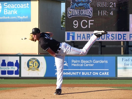 Trevor Rogers pitches against the Charlotte Stone Crabs on May 21, 2019. Through 11 games for the Jupiter Hammerheads, Rogers is 2-6 with an ERA of 3.03. He's pitched in 62.2 innings and has 65 strikeouts.