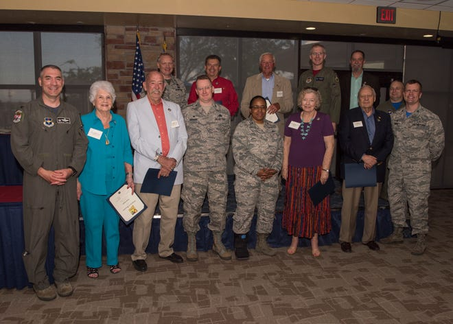 Col. Joseph Campo, 49th Wing commander (left) poses with all 49th Wing group commanders and 2019 commanders emeritus, May 31, 2019, on Holloman Air Force Base, N.M. The designation of commander emeritus is the highest honor the 49th Wing can present a civilian civic leader.