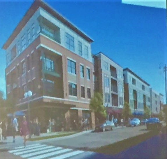A rendering of the condominiums that are planned for the development at the current site of Northville Downs.