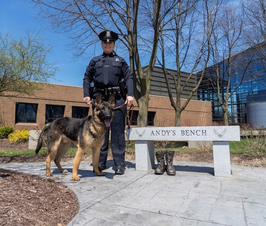 Novi K-9 Officer Stacey Simon poses with her new friend, partner and charge Becker, named after deceased U.S. Air Force Maj. Andrew Christopher Becker, a Novi native.
