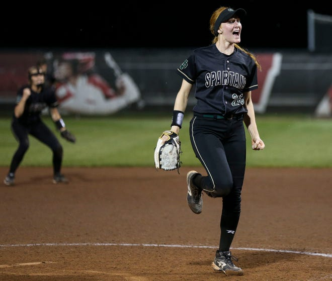 Oshkosh North High School's Sydney Supple (26) reacts after tallying a strikeout in the bottom of the ninth inning against Sun Prairie High School during the Division 1 state championship game on Saturday, June 8, 2019, at Goodman Softball Complex in Madison, Wis. Tork Mason/USA TODAY NETWORK-Wisconsin