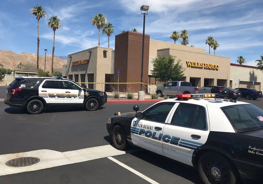 This photo from June 10, 2019 shows Riverside county sheriff's deputies investigating a robbery at the Wells Fargo Bank at Highway 111 and Bob Hope Drive in Rancho Mirage. The bank was robbed a second time on Jan. 9, 2020.