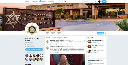 The Riverside County Sheriff's Department Twitter feed from Palm Desert will be phased out Wednesday, June 12, 2019.