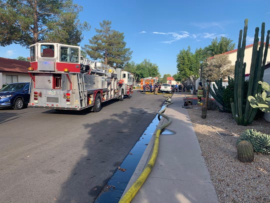 The Phoenix Fire Department on scene of a condominium fire in north Phoenix on Monday, June 10, 2019.