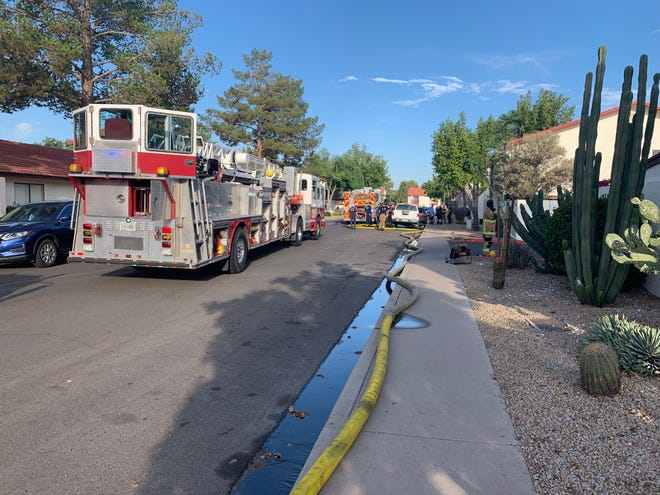 The Phoenix Fire Department on scene of a condominium fire in north Phoenix on Monday, June 10, 2019.