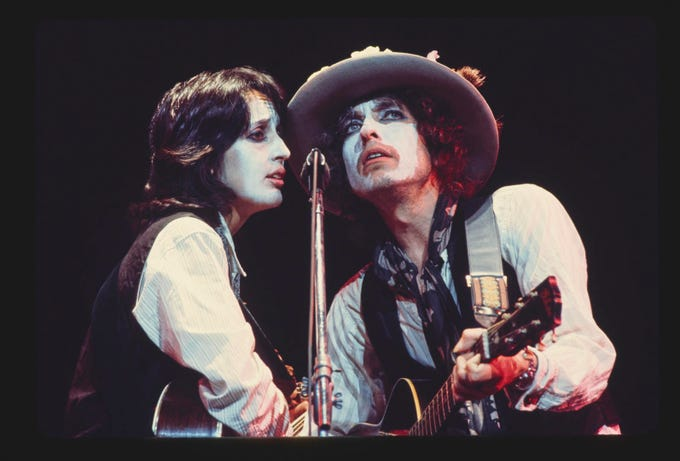 "Joan Baez and Bob Dylan in ""Rolling Thunder Revue: A Bob Dylan Story by Martin Scorsese."""