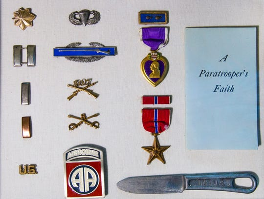 Medals and rank insignias of James Nunn, a commanding officer of the 507th Paratrooper Infantry Regiment who parachuted into Normandy on D-Day.