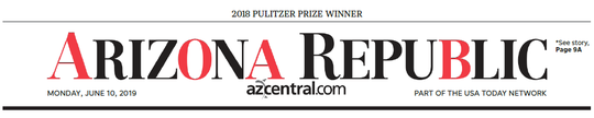The Arizona Republic front page, Missing Type campaign, June 10, 2019.
