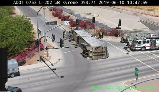 An overturned semi blocks the on ramp at the Loop 202 Santan WB at Kyrene on June 10, 2019.