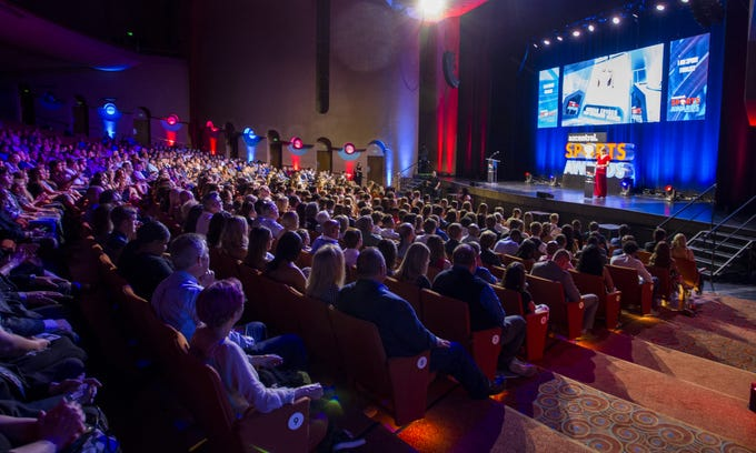 Attendees watch the azcentral Sports Awards at ASU Gammage in Tempe June 9, 2019. #azcsportsawards (Darryl Webb/For the Republic)