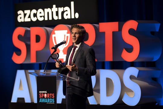 Highland's Leo Daschbach thanked his parents and coaches after walking away with two awards that included the Boys Track and Field Athlete of the Year and Boys Cross-Country Runner of the Year during the azcentral Sports Awards at ASU Gammage in Tempe June 9, 2019.
