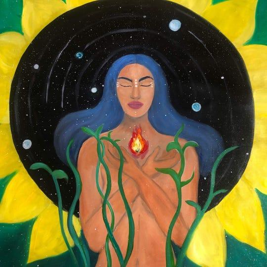 "Painter Yesenia Berroa exhibits ""Solara"" during Poughkeepsie Open Studios weekend."