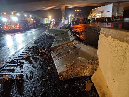 Overturned tractor-trailer closes portion of I-83 Monday morning.