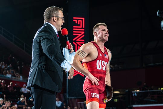 John Stefanowicz, a Kennard-Dale grad and U.S. Marine, pulled an upset at the recent Final X championships in Greco-Roman Style. He won the 82 kilogram division.