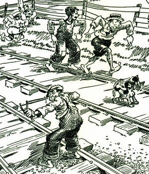 The importance of railroad lines coming through Richmond cannot be understated historically. Gaar Williams, national syndicated illustrator for the Chicago Tribune, drew upon his late 19th century childhood in Richmond to represent life back then. This is an image he drew of a young boy with a slingshot, while other boys played on railroad tracks. Today's story is about a disenchanted investor in a rail line who visited Richmond on June 17, 1882.