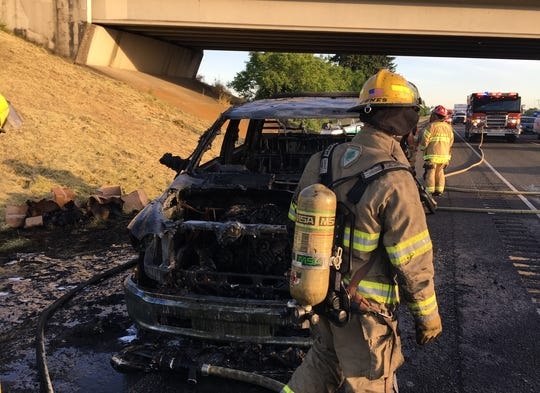 A pickup caught fire Sunday evening on northbound I-5.
