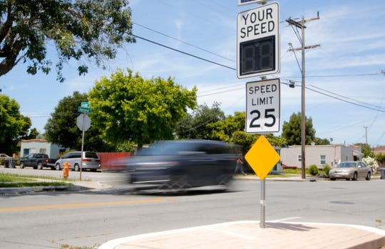 A vehicle drives down Nacional Street in Salinas June 10, 2019. Nacional will be getting new traffic calming projects.