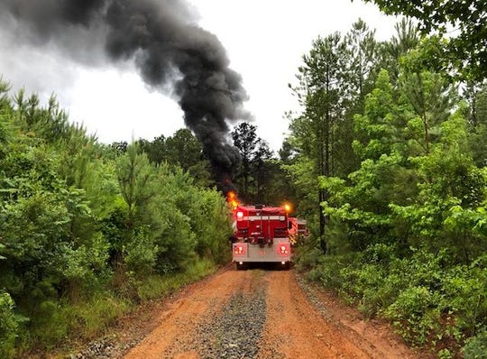 One of three oil well tank batteries caught on fire Friday morning in Bossier Parish.
