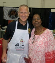 Shreveport Fire Chief/Classic Chef Scott Wolverton and Classic Guest Stephanie Williams at Gentleman's Cooking Classic.