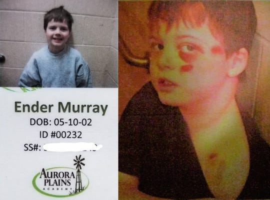 Ender Murray, shown in his admission badge at left, was just 9 years old when he arrived for treatment at Aurora Plains Academy. Less than two years later, in 2013, Ender was thrown to the ground and pinned by an academy employee, leading to significant facial, limb and torso injuries. Some of his injuries are shown at right in a photo taken by a sheriff's deputy.