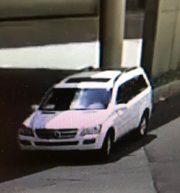 Surveillance image of a 2007 white Mercedes GL believed to be related to a deadly shooting in Sioux Falls on Saturday, June 8, 2019.
