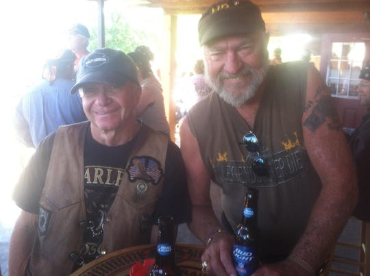 Pictured is David Williams and Bill Maxheimer (left) at the Bikes, Blues & BBQ rally in Fayetville, Arkansas in 2017.