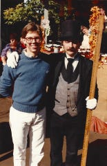 Wayne Milnes, right, is credited with mentoring Branson performers such as Terry Wayne Sanders, left. This photo from the 1980s shows Milnes in his Silver Dollar City street-show role as Mort the Mortician.