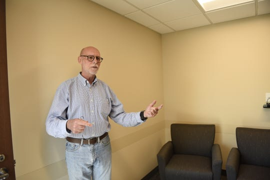 John Eggers, St. Cloud State University's director of counseling and psychological services, shows a new room in the renovated Eastman Hall on Monday, June 10.