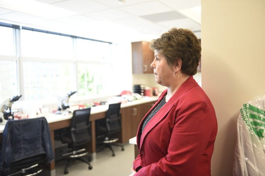 Corie Beckermann, director of the medical clinic and pharmacy at St. Cloud State University, stands in a new lab in the renovated Eastman Hall on Monday, June 10.