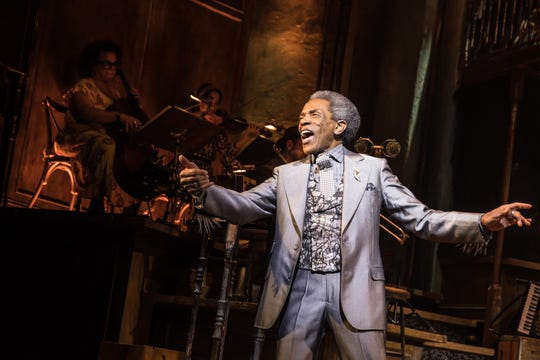 "Andre De Shields in scene from play ""Hadestown"" where he won a Tony Award on Sunday, June 9, 2019 for his performance."