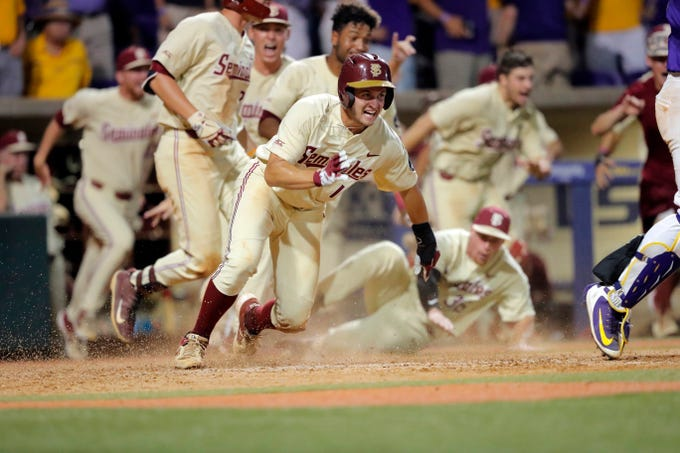 inning of Game 2 of the NCAA college baseball super regional tournament in Baton Rouge, La., Sunday, June 9, 2019. Florida State won 5-4 in 12 innings to advance to the College World Series. (AP Photo/Gerald Herbert)
