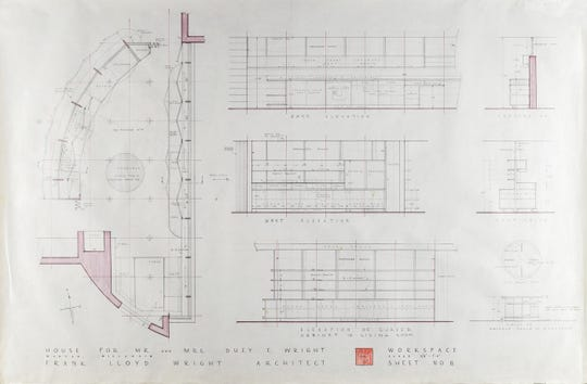 These plans for the kitchen in the Frank Lloyd Wright-designed home at 904 Grand Ave., Wausau, are being sold through a Boston-based auction house.