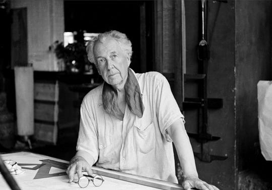 This Aug. 16, 1938 file photo shows artist and architect Frank Lloyd Wright in his studio at his home, Talisien, in Spring Green, Wis. Wright designed the home at 904 Grand Avenue in Wausau. The plans for the kitchen are up for auction.(AP Photo, File)