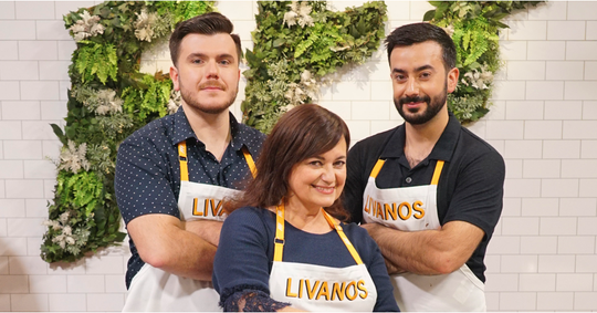 The Livanos Family of Armonk competes on ABC's Family Food Fight; left to right: Enrico Livanos, Lorena Livanos and Johnny Livanos.