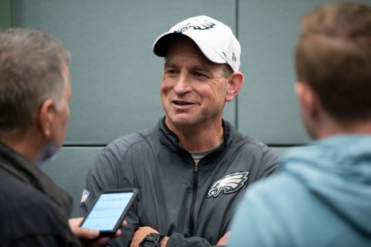 Philadelphia Eagles safeties coach Tim Hauck speaks with members of the media at the NFL football team's practice facility in Philadelphia, Monday, June 10.
