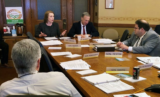 WCMA Communications, Education, and Policy Director Rebekah Sweeney and Specialty Cheese Company President Paul Scharfman testifying in favor of SB 219 in the Senate Committee on Agriculture, Revenue, and Financial Institutions on Thursday, May 30, 2019.