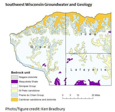 This image shows the groundwater and geology of southwest Wisconsin.