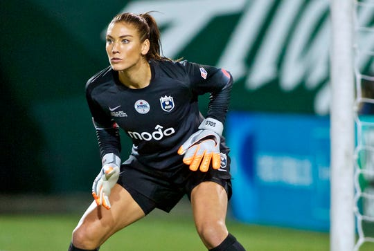 Hope Solo shown during NWSL soccer championship match in Portland, Oregon.