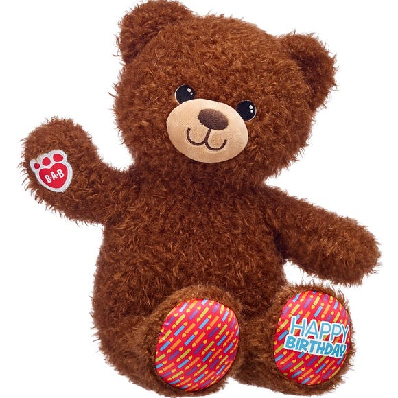 The Birthday Treat Bear is available all year so that on the month of their birthday children can pay-their-age for this plush toy.
